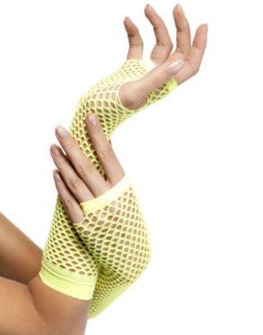 80s Fancy Dress Long Fishnet Gloves - Neon Yellow
